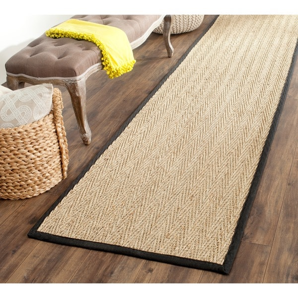 Safavieh Casual Natural Fiber Hand-Woven Sisal Natural / Black Seagrass Runner (2'6 x 8') - 2'6 x 8'