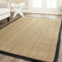 Safavieh Casual Natural Fiber Hand-Woven Sisal Natural / Black Seagrass Rug - 3' x 5'