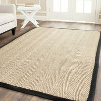 Safavieh Casual Natural Fiber Hand-Woven Sisal Natural / Black Seagrass Rug - 4' X 6'