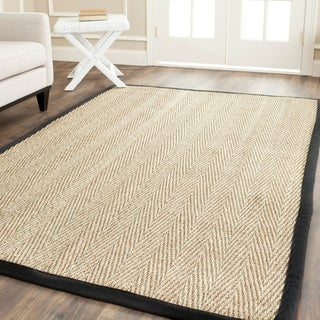 Safavieh Casual Natural Fiber Hand-Woven Sisal Natural / Black Seagrass Rug (6' x 9')