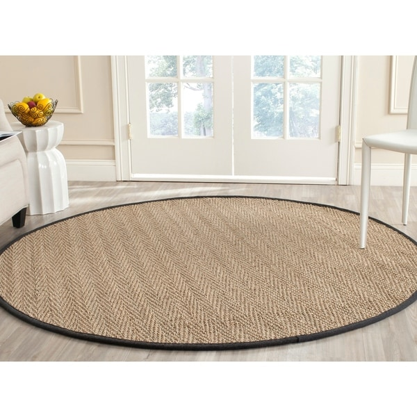 Safavieh Casual Natural Fiber Hand-Woven Sisal Natural / Black Seagrass Rug - 8' x 10'