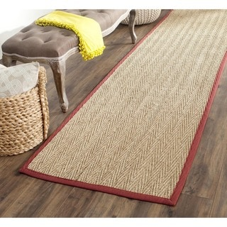 Safavieh Casual Natural Fiber Hand-Woven Sisal Natural / Red Seagrass Runner (2'6 x 12')