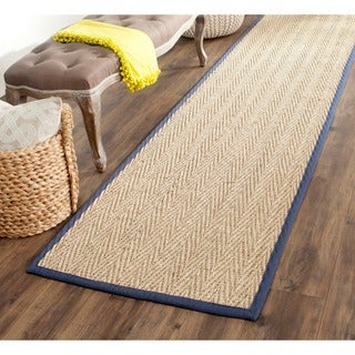Safavieh Casual Natural Fiber Herringbone Natural and Blue Border Seagrass Runner (2'6 x 8')
