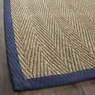 safavieh casual natural fiber herringbone natural and blue border seagrass rug 3u0027 x 5 - Seagrass Rug