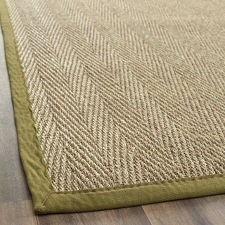 Safavieh Casual Natural Fiber Herringbone Natural and Olive Border Seagrass Runner (2'6 x 12')
