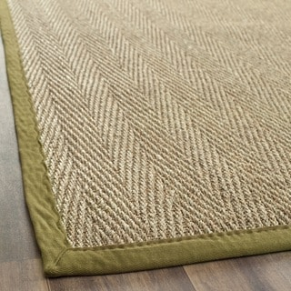 Safavieh Casual Natural Fiber Herringbone Natural and Olive Border Seagrass Runner (2'6 x 8')