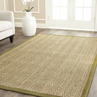 Safavieh Casual Natural Fiber Herringbone Natural and Olive Border Seagrass Rug (4' x 6')