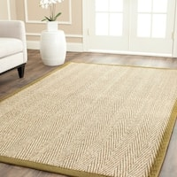 Safavieh Casual Natural Fiber Herringbone Natural and Olive Border Seagrass Rug - 8' x 10'