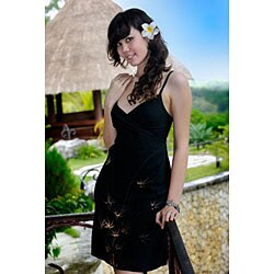 1 World Sarongs Women's Mini Bamboo Design Dress / Short Dress Rayon-2- (Indonesia)