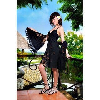 Handmade 1 World Sarongs Women's Mini Bamboo Design Dress / Short Dress Rayon-2- (Indonesia)