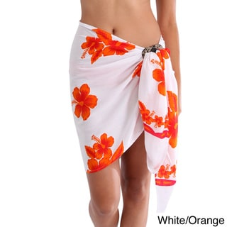 1 World Sarongs Women's Hibiscus Rayon Half Sarong (Indonesia)