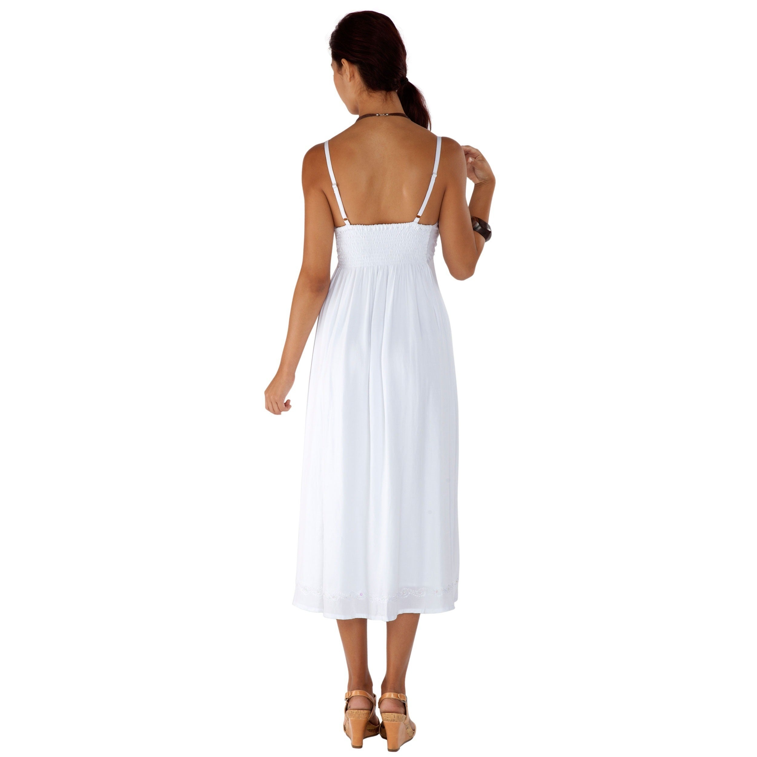 1 World Sarongs Womens Long Summer Embroidered Dress in White Lined in XS