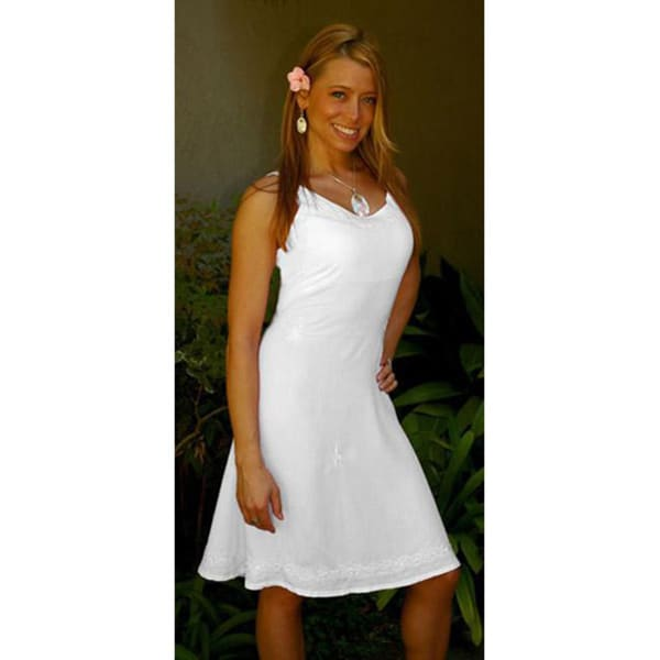 1 World Sarongs Women's White Lined Sun Dress (Indonesia)
