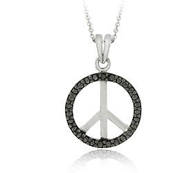 DB Designs Sterling Silver Black Diamond Peace Sign Necklace