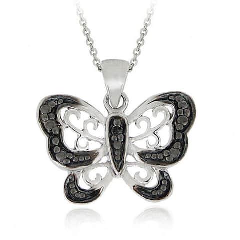 DB Designs Sterling Silver Black Diamond Butterfly Necklace