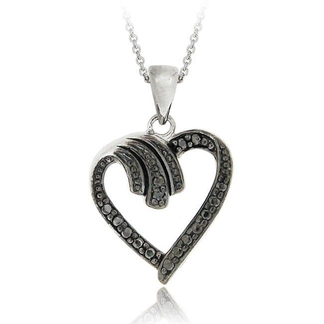 DB Designs Sterling Silver Black Diamond Open Heart Necklace