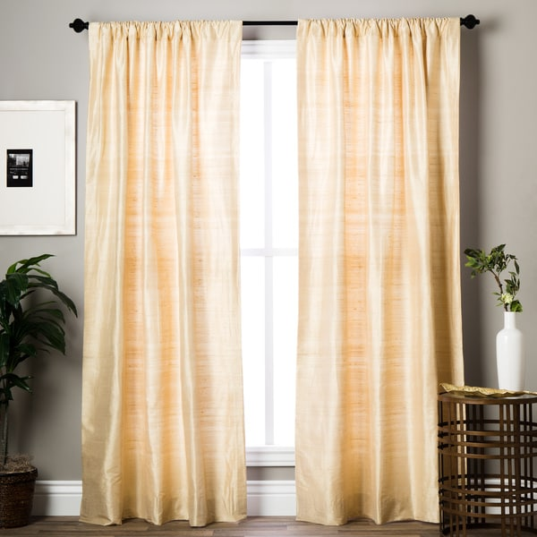 Exclusive Fabrics Signature Beige Textured Silk Curtain Panel