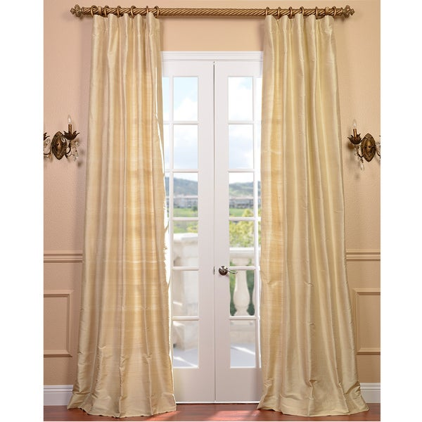 Exclusive Fabrics Signature Beige Textured Silk 120-inch Curtain Panel