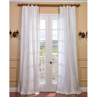 Exclusive Fabrics Signature Lily White Textured Silk 84-inch Curtain Panel