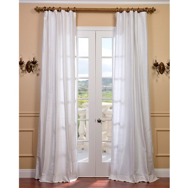 Exclusive Fabrics Signature Lily White Textured Silk 96-inch Curtain Panel