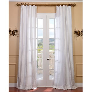 Exclusive Fabrics Signature Lily White Textured Silk Curtain Panel
