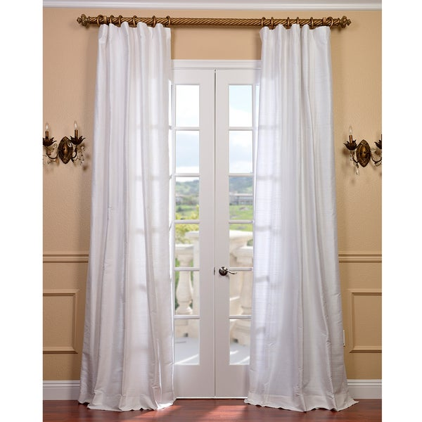 Exclusive Fabrics Signature Lily White Textured Silk 120-inch Curtain Panel