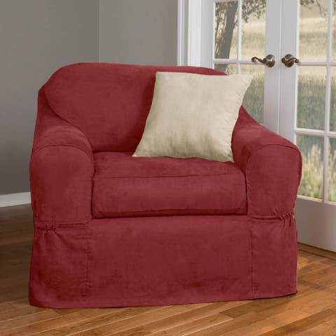 "Maytex Piped Suede 2-piece Patented Chair Slipcover Discontinued - up to 38"" wide"