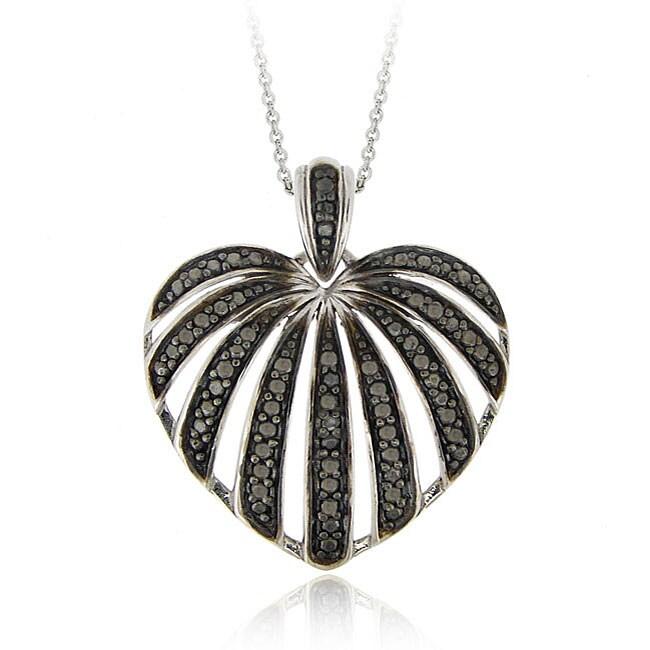 DB Designs Sterling Silver Black Diamond Accent Striped Heart Pendant