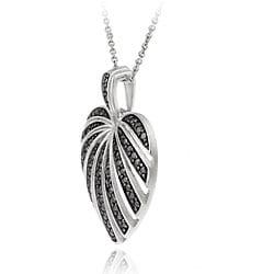 DB Designs Sterling Silver Black Diamond Accent Striped Heart Pendant - Thumbnail 1