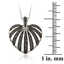 DB Designs Sterling Silver Black Diamond Accent Striped Heart Pendant - Thumbnail 2