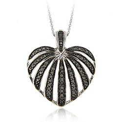 DB Designs Sterling Silver Black Diamond Accent Striped Heart Pendant