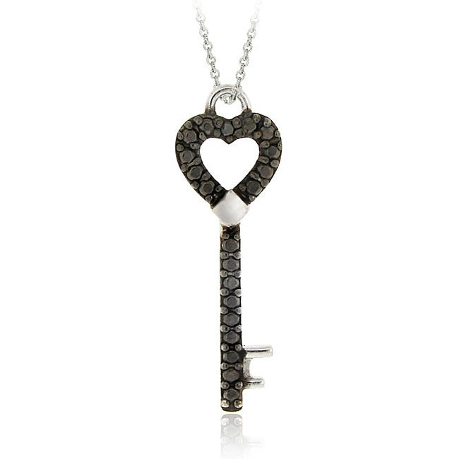 DB Designs Sterling Silver Black Diamond Accent Key Necklace