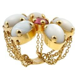 Pre-owned 18k Gold Moonstone/ Tourmaline Flower Estate Ring (Size 7)