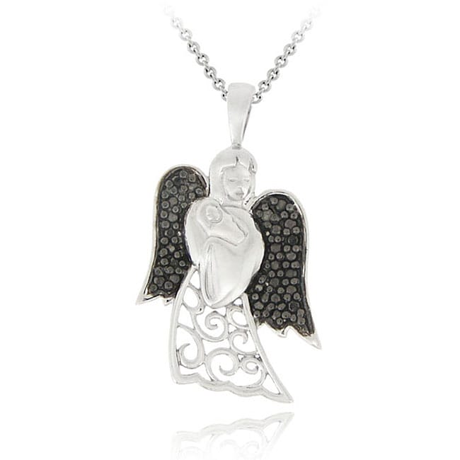 DB Designs Sterling Silver Black Diamond Accent Angel Holding Baby Necklace