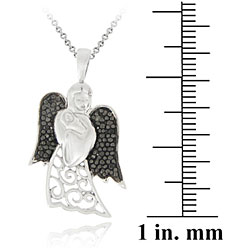 DB Designs Sterling Silver Black Diamond Accent Angel Holding Baby Necklace - Thumbnail 2