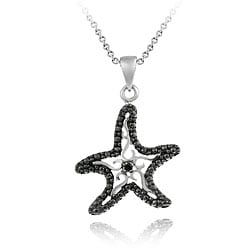 DB Designs Sterling Silver Black Diamond Accent Starfish Necklace