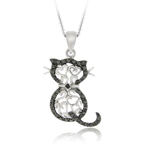 DB Designs Sterling Silver Black Diamond Accent Filigree Cat Necklace