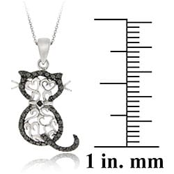 DB Designs Sterling Silver Black Diamond Accent Filigree Cat Necklace - Thumbnail 2