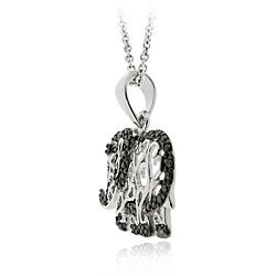 DB Designs Sterling Silver Black Diamond Accent Filigree Elephant Necklace