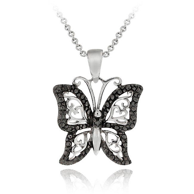 DB Designs Sterling Silver Black Diamond Accent Filigree Butterfly Necklace
