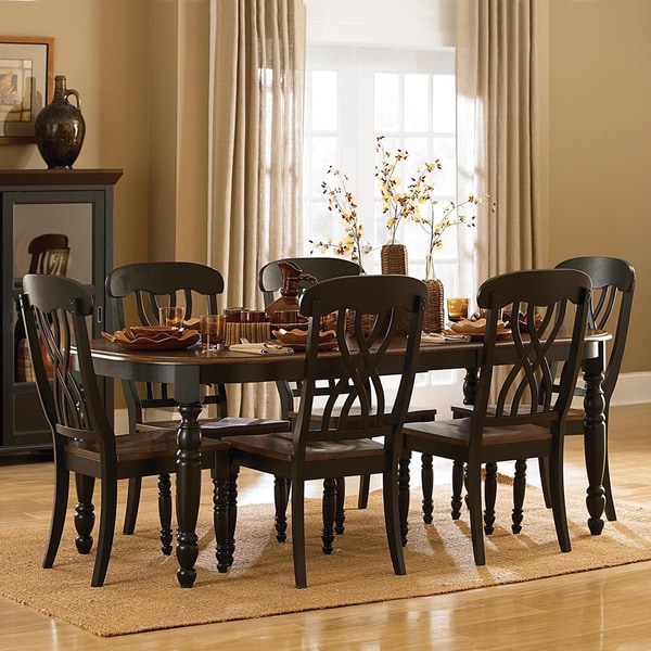 tribecca home mackenzie 7 piece country black dining set free