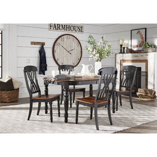 TRIBECCA HOME Mackenzie Country Antique Extending Scroll Back Dining Set