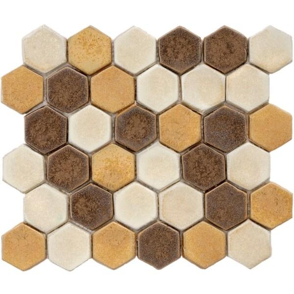 SomerTile 10.75x12-inch London Hexagon Tahoma Ceramic Mosaic Floor ...