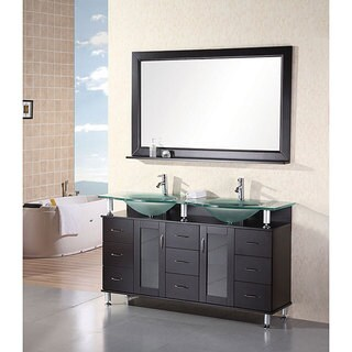 Design Element Rome Contemporary Double-sink Bathroom Vanity Set - Black