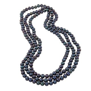 DaVonna 8-9 mm Peacock Black Freshwater PearlEndless Necklace, 64-inch