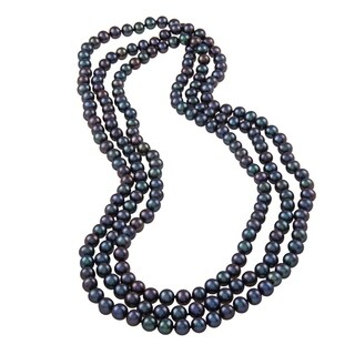 DaVonna Peacock Black Freshwater Pearl 64-inch Endless Necklace (8-9 mm)