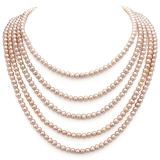 DaVonna 5-6 mm Pink Freshwater Pearl Endless Necklace 100-inch
