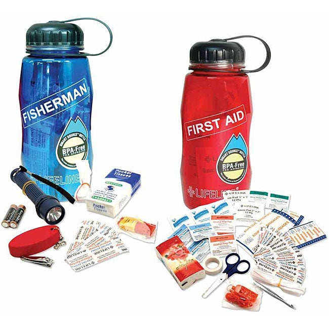 Lifeline Waterbottles 'First Aid in a Bottle' and 'Fisherman in a Bottle' Kits
