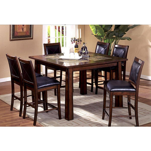 Furniture of America Bavaria 5-piece Marble Insert Pub Dinette Set