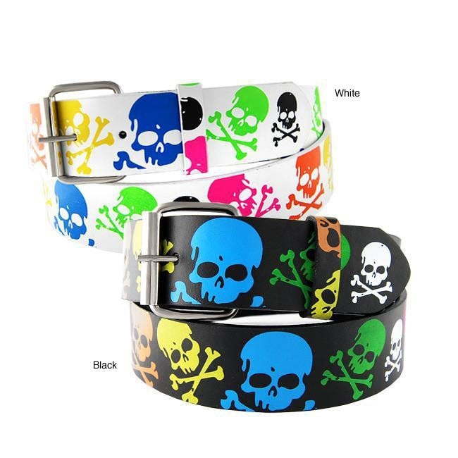 Men's Colored Skulls Faux Leather Belt